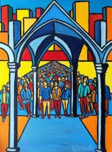 La gente della Piazza - Olio su tela (60x80 cm) - donato a La Piazza dei Mestieri