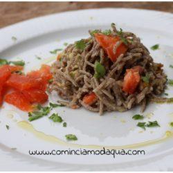 28. Spaghetti di grano saraceno con trota affumicata e crema di rape di Elena