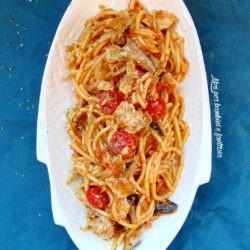 55. *Pasta risottata mare e monti al quadrato con ricciola,pomodorini e cardoncelli di Milena