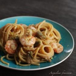 96. Spaghetti con mazzancolle e carciofi di Francesca Acquolina