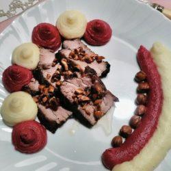 43. filetto di maiale affumicato ai due purè con patate di Irene
