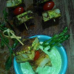 79. spiedini di tortilla con salsa agli asparagi di villa di Irene