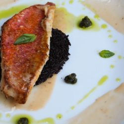 30. filetto di triglia con cialda di riso nero alla vaniglia, maionese alla fragola e pesto di pistacchi di Valeria