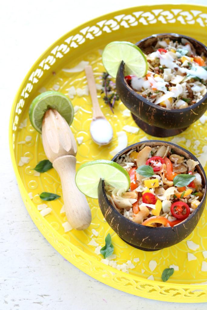 Coconutricesaladwithmangobellpepperlime