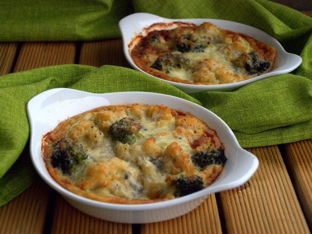 gratin di cavolfiori e broccoli al roquefort