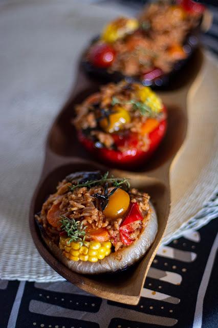 62. Mai, ortaggi ripieni di red rice con salmorreta e verdure confit